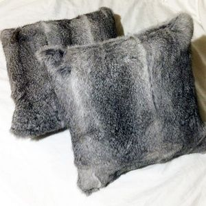 Simons Gray Genuine Rabbit Fur Pillows, Set of 2